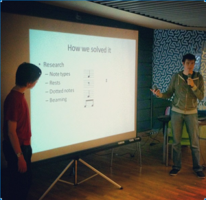 Team Alex and Tom presenting their rhythm training app
